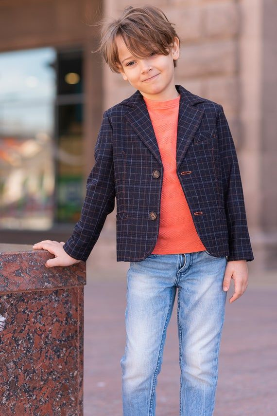 Boys checked wool blazer/ Toddler boy spring jacke