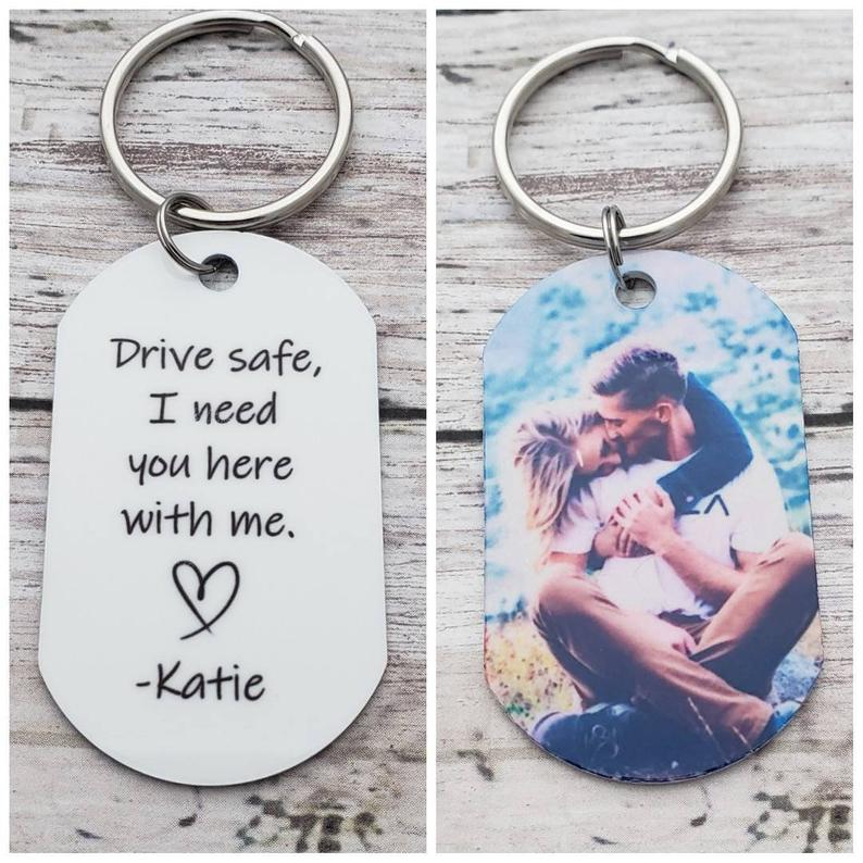 Photo of Drive Safe Keychain, Customized Photo Gifts, Drive Safe I Need You Here With Me, Boyfriend Birthday Gift, Drive Safe Handsome