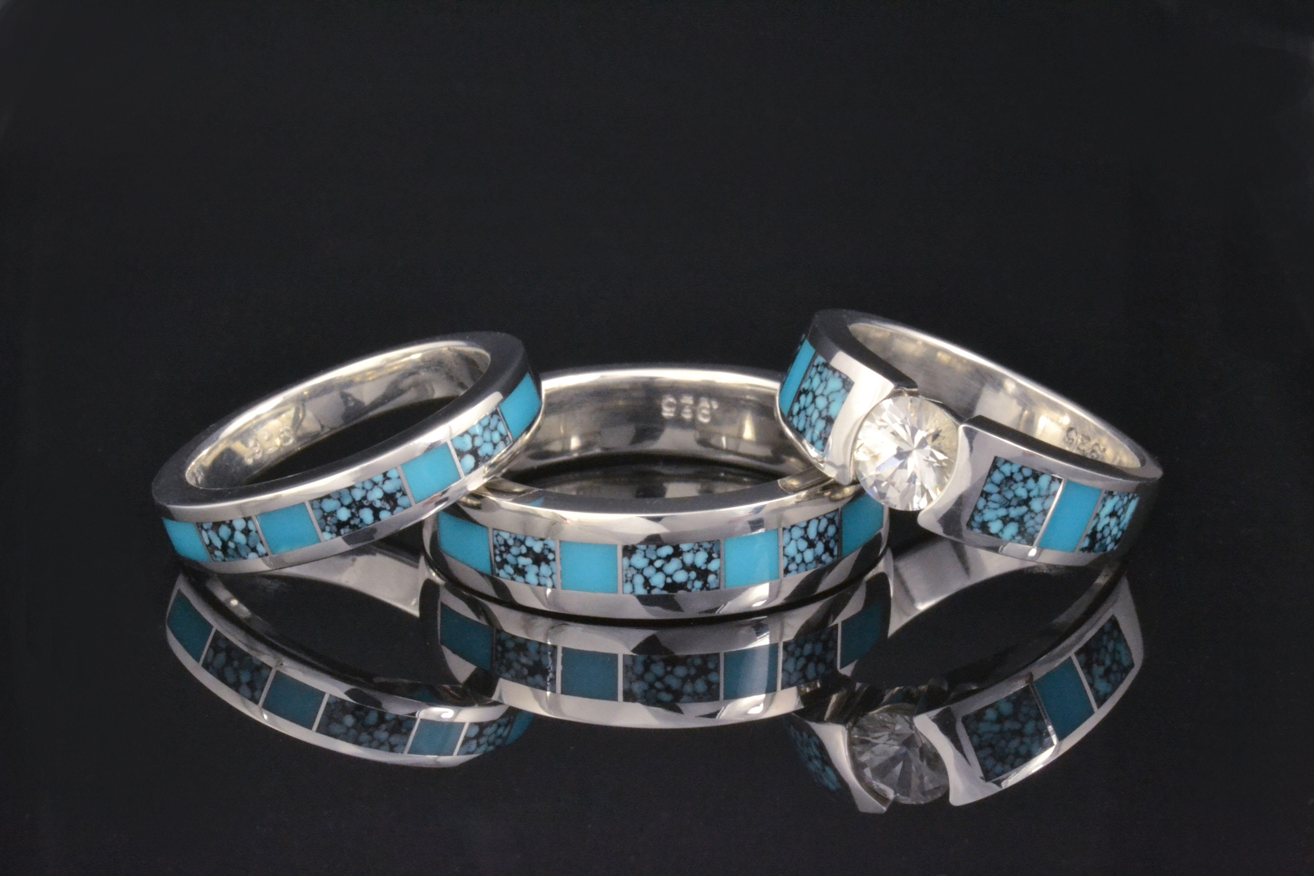 Our Favorite Turquoise Wedding Ring Set Turquoise Wedding Rings Turquoise Wedding Ring Set Wedding Rings