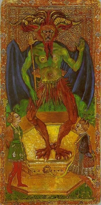The Devil card from Cary-Yale Visconti Tarot Deck (15th Century).