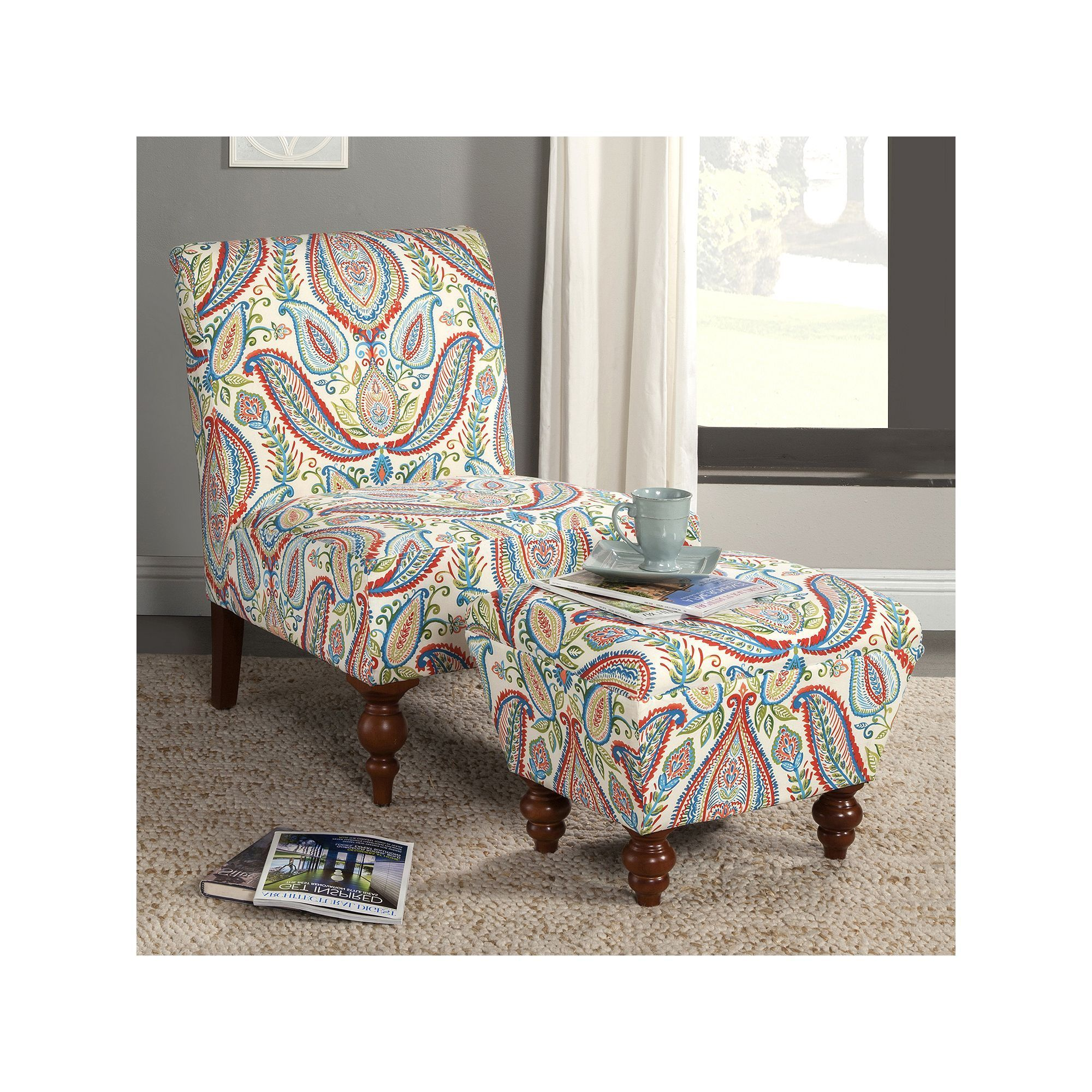 Remarkable Homepop Paisley Accent Chair Ottoman 2 Piece Set Bralicious Painted Fabric Chair Ideas Braliciousco