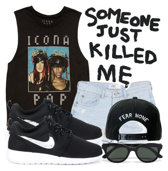 """""""someone just killed me"""" by hicallmej ❤ liked on Polyvore featuring Forever 21, MANGO, NIKE, Ray-Ban, Trukfit and House Of Voltaire"""