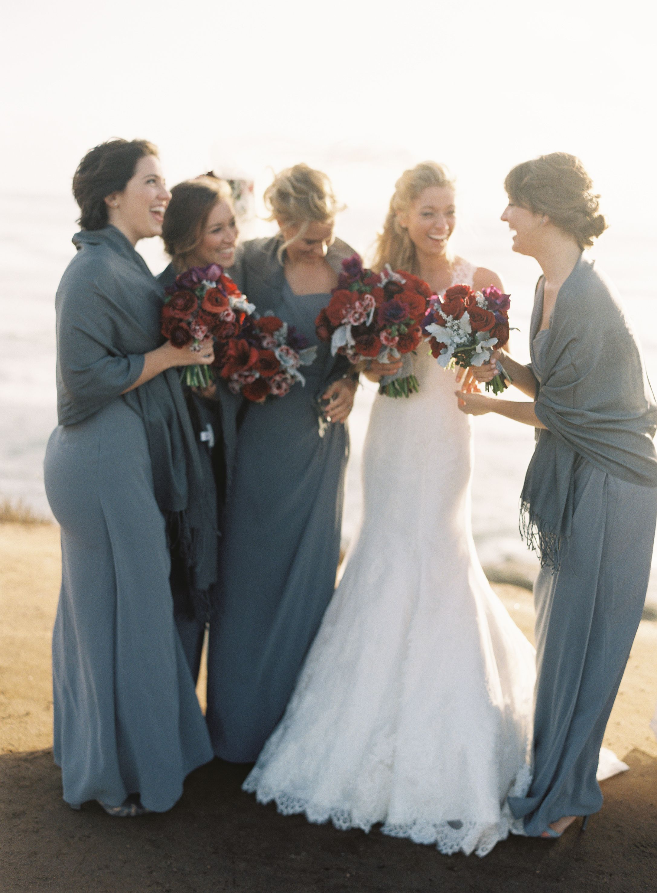 Bride with bridesmaids in long dresses estes wedding ideas bride with bridesmaids in long dresses ombrellifo Images