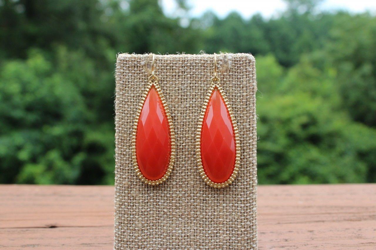 Peach Roots - Orange/Gold Elongated Teardrop Earrings, $10.00 (http://peachroots.com/orange-gold-elongated-teardrop-earrings/)
