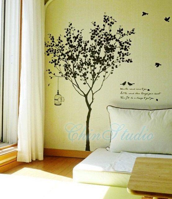Tree Decal Wall, Tree On Wall, Wall Stickers Tree, Vinyl Wall Decals, Cool  Wall Art, Painted Trees, Living Room Walls, Art Walls, Wall Tattoo