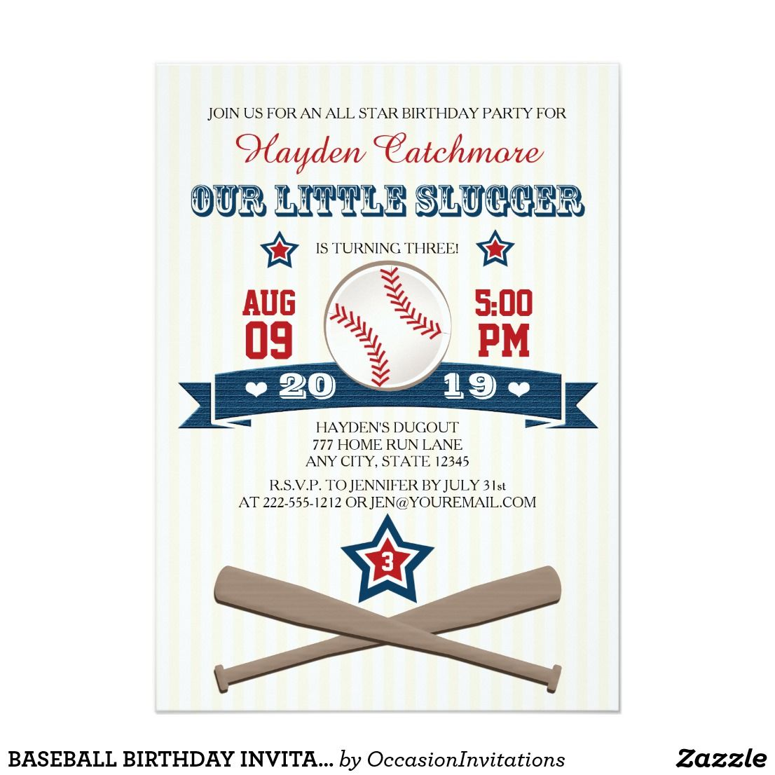 BASEBALL BIRTHDAY INVITATION FOR CHILDREN A BOY TURNING ONE, TWO ...