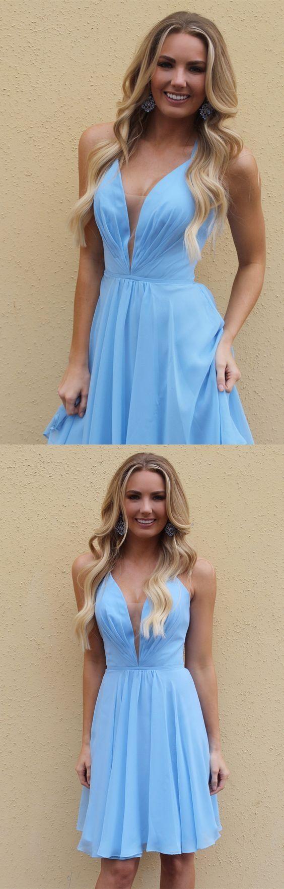 584dd221c237 A-Line Spaghetti Straps Above-Knee Light Blue Chiffon Homecoming Dress |  fashion dresses | Pinterest | Homecoming dresses, Short party dresses and  ...