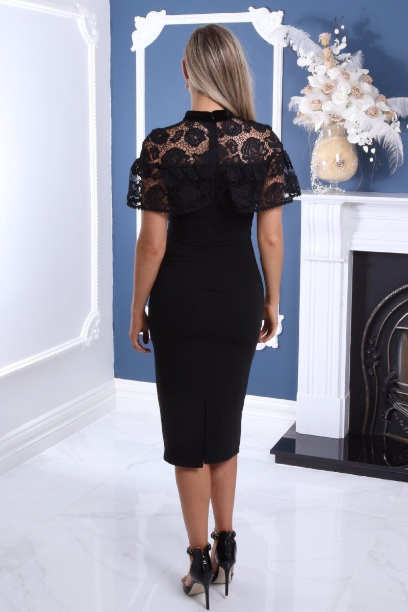 Everyone Needs A Little Black Fitted Midi Dress With Crochet Overlay In Their Closet This Cute Little Number Is Lace Formal Dress Black Funeral Dress Dresses [ 1200 x 800 Pixel ]