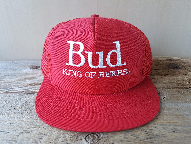 Bud King Of Beers Original Vintage Red Mesh Trucker Snapback Hat Official Budweiser Beer Promo Embroidered Cap Stylemaster In 2020 Vintage Budweiser Beer Vintage Beer