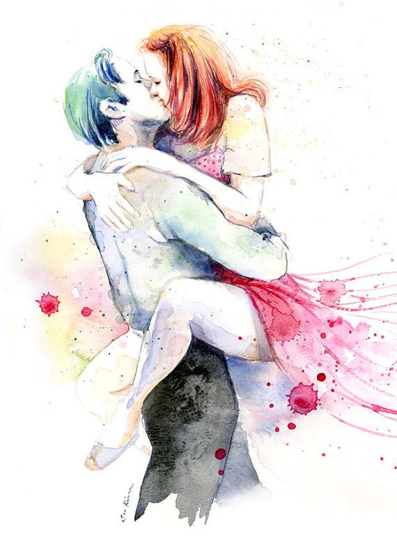 Romantic Couple Watercolor Painting Print  Kissing by sookimstudio