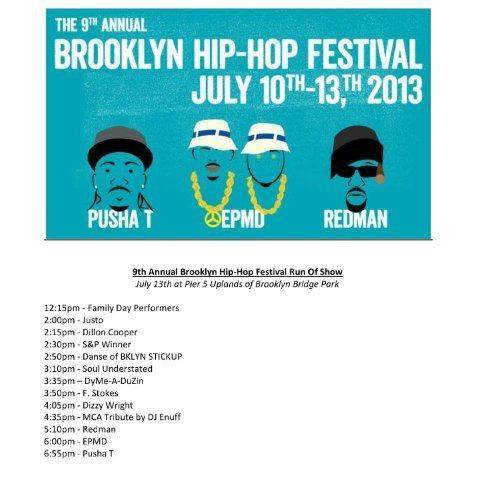 The Brooklyn Hip-Hop Festival - BHF'13 Schedule