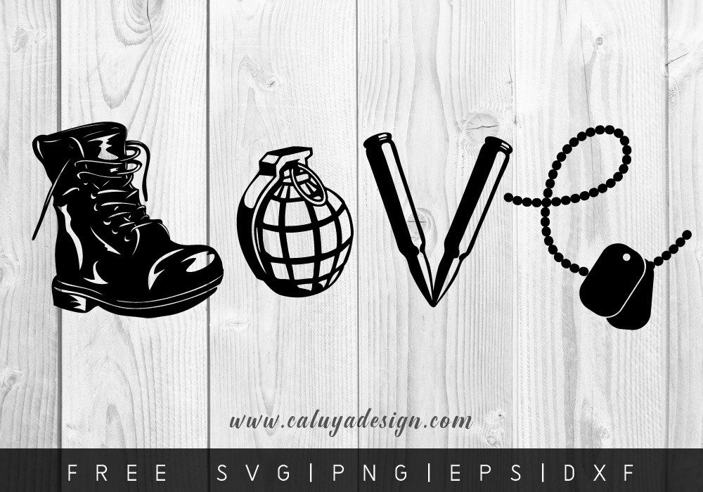 FREE LOVE ARMY SVG, PNG, DXF & EPS by (With images