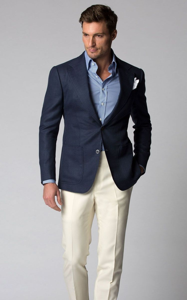 9bcf62ea86 Business casual combo inspiration with cream trousers navy blazer light  blue shirt white linen pocket square  businesscasual  linen  summeroutfits   menswear ...