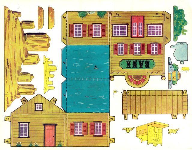 Village western d couper maisons a r aliser casas de cart n juguetes de cart n et casas - Maison papier a decouper ...