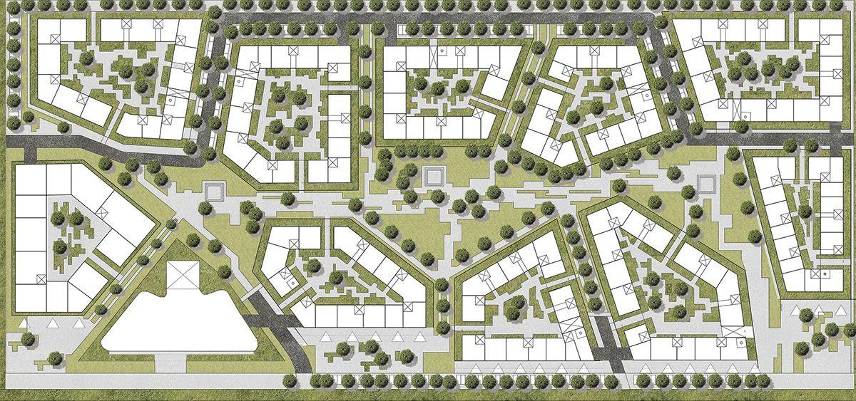 Urban Project Masterplan For Ksawerow On Behance Kentsel Tasarim Semasi Kentsel Tasarim Plani Sehir Planlama