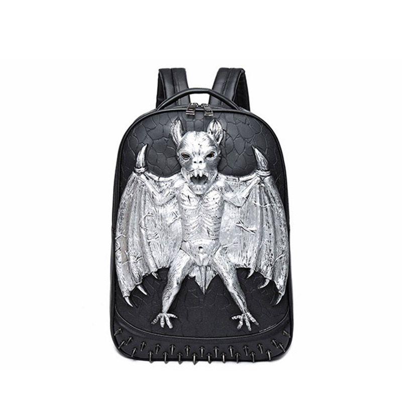 Womens Leather Backpack Halloween Bats Travel Shoulder Bag for Girls Ladies