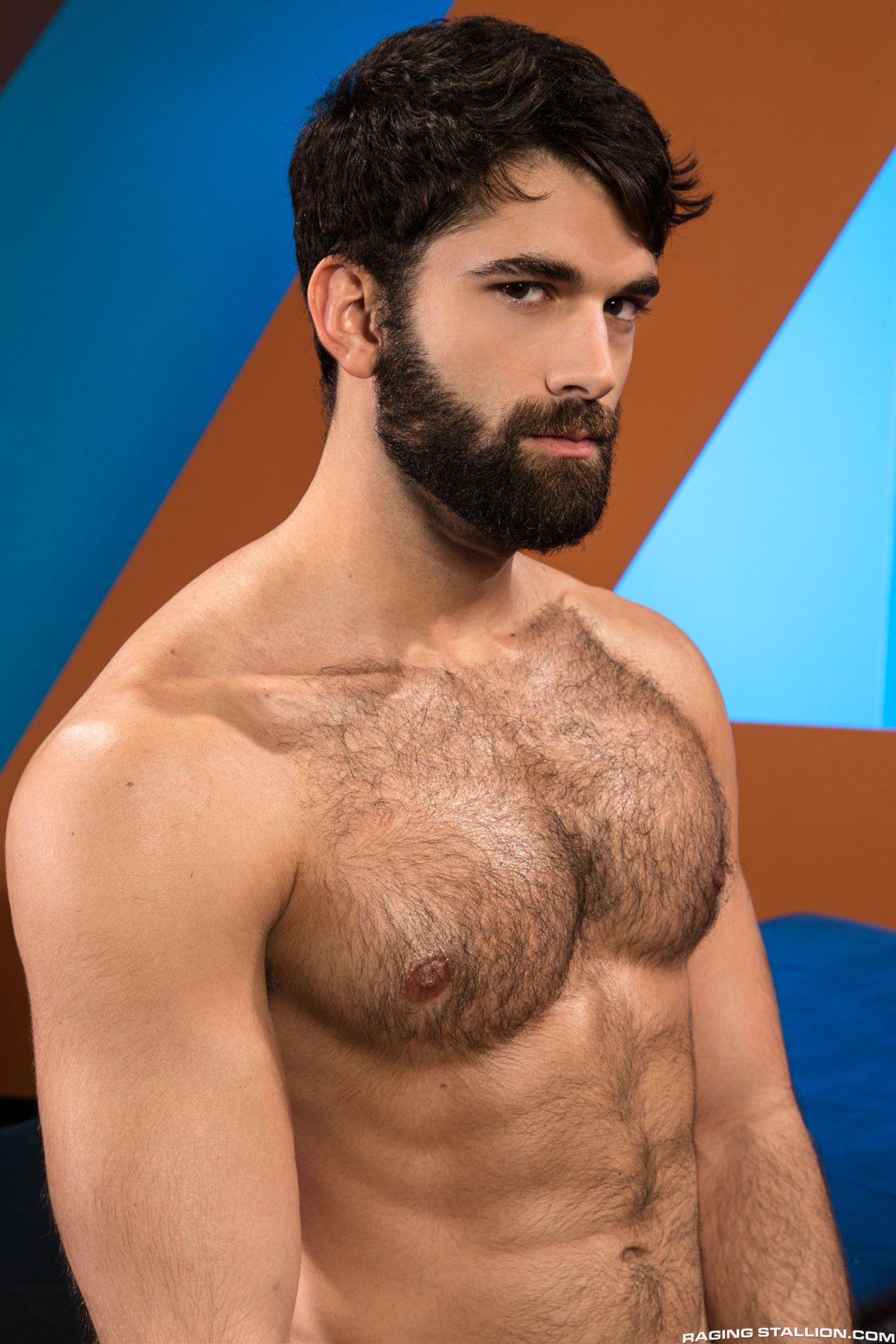 Chest hairy man beard with
