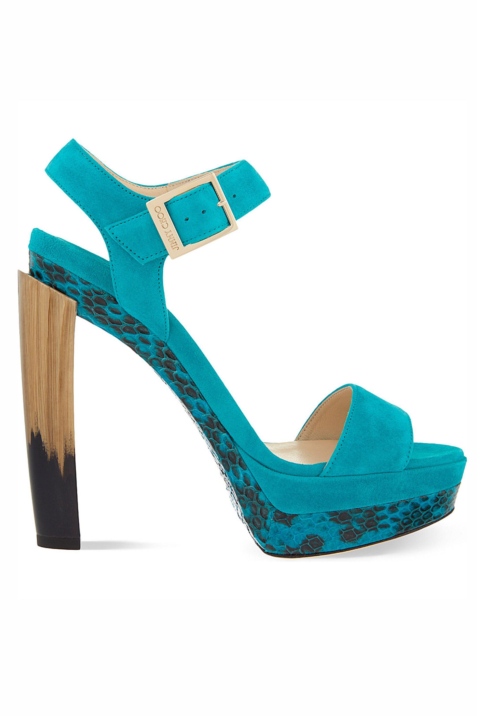 Dora 130 suede and snakeskin sandals, £650, Jimmy Choo at Selfridges - HarpersBAZAAR.co.uk