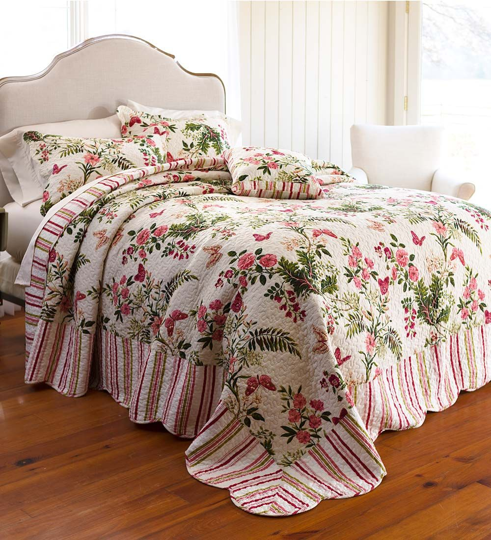 Bring Garden Beauty Into Your Bedroom With Our Detailed Butterfly Garden  Reversible Bedspread.