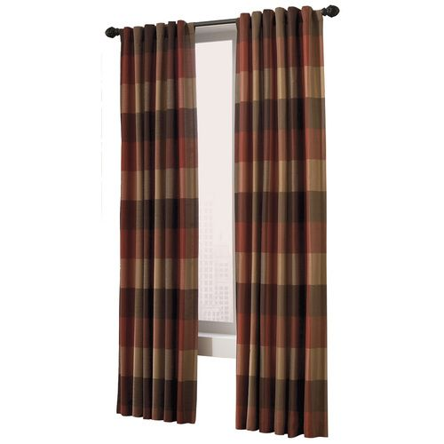 Plaid Paneled Allen And Roth Curtain Panels Rust Brown Tan Squares With Decorative Rod