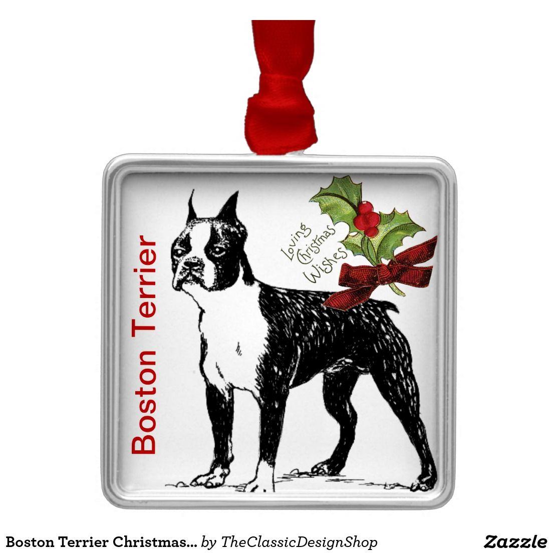 Boston Terrier Christmas Ornament https://www.zazzle.com ...