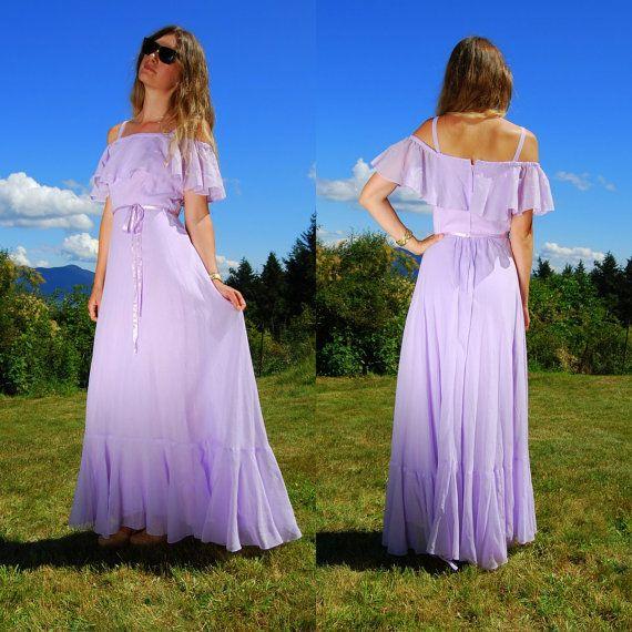 89522ab347 70 s Lavender Maxi Dress Tall Boho Cotton Summer Dress - Off The Shoulder  Lilac Dress - Pastel Purple Prom Dress - Vintage JC Penny Dress by  SurfandtheCity