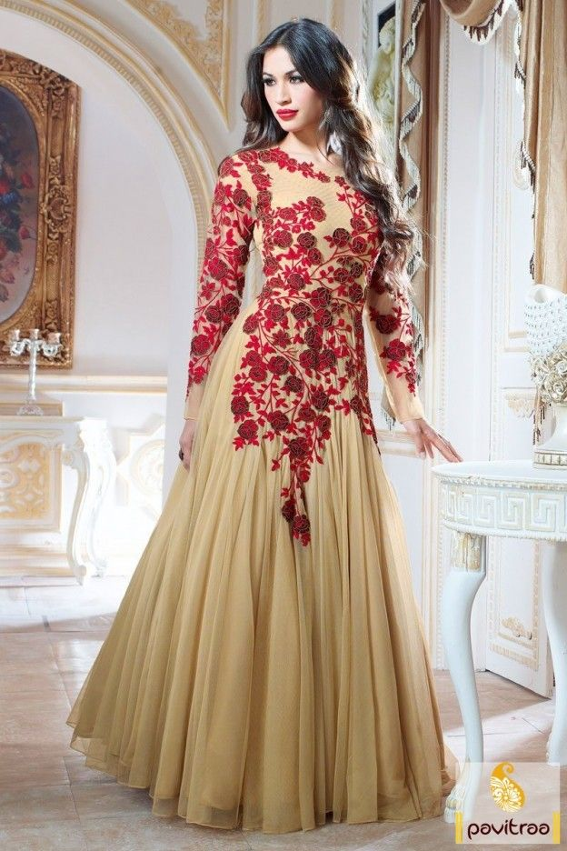0c403b5a4c59 Party Wear Beige Net Designer  Gown