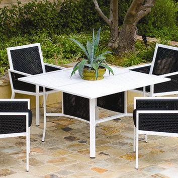 Koverton Koverton Parkview Woven Square Dining Table with Umbrella Hole