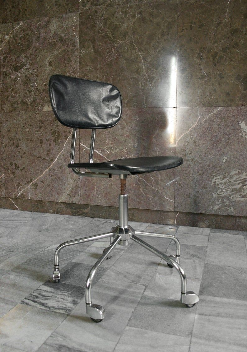 Groovy Vintage Industrial Black Vegan Leather Swivel Chair Retro Gmtry Best Dining Table And Chair Ideas Images Gmtryco