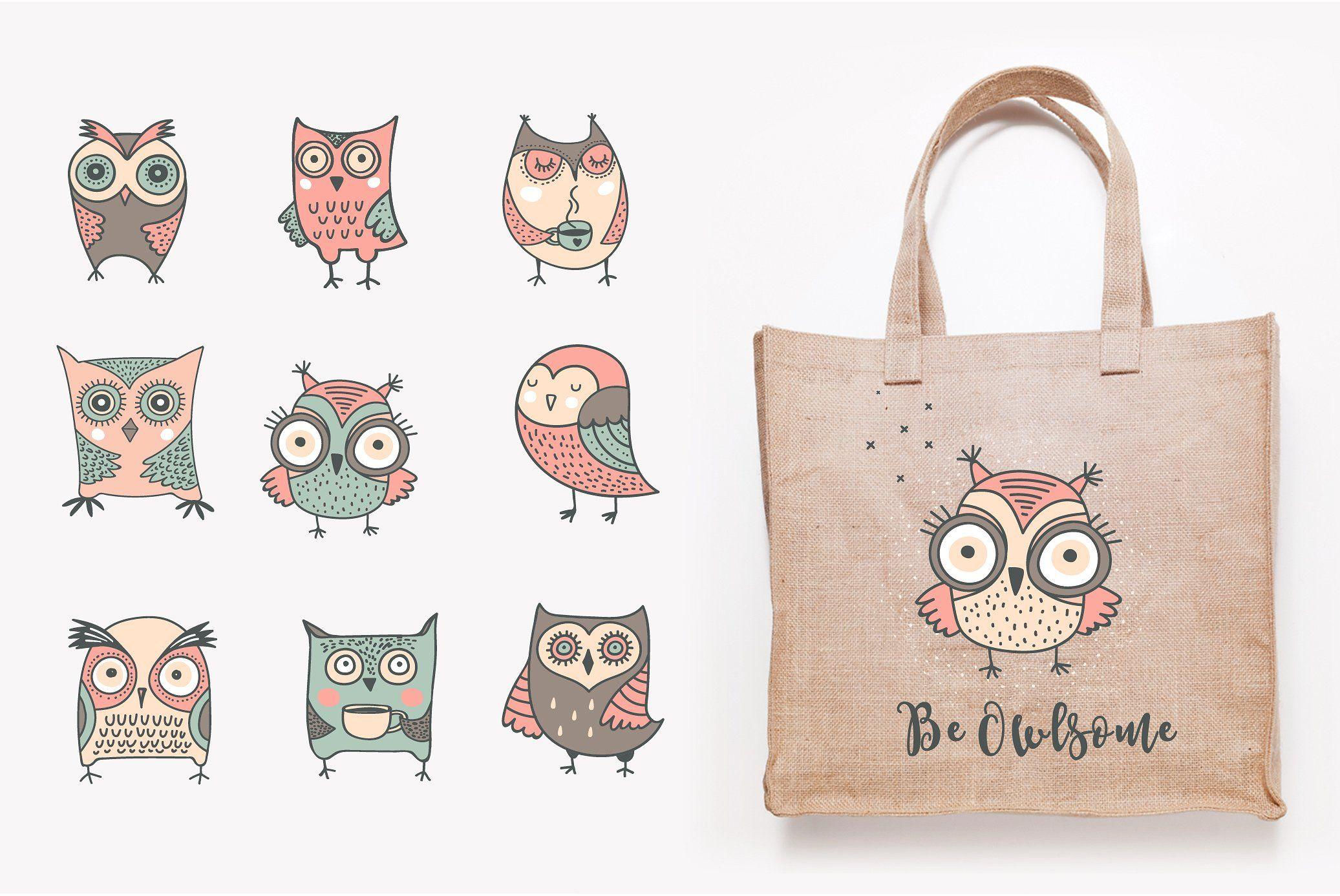 Cute Hand Drawn Owl Illustrations