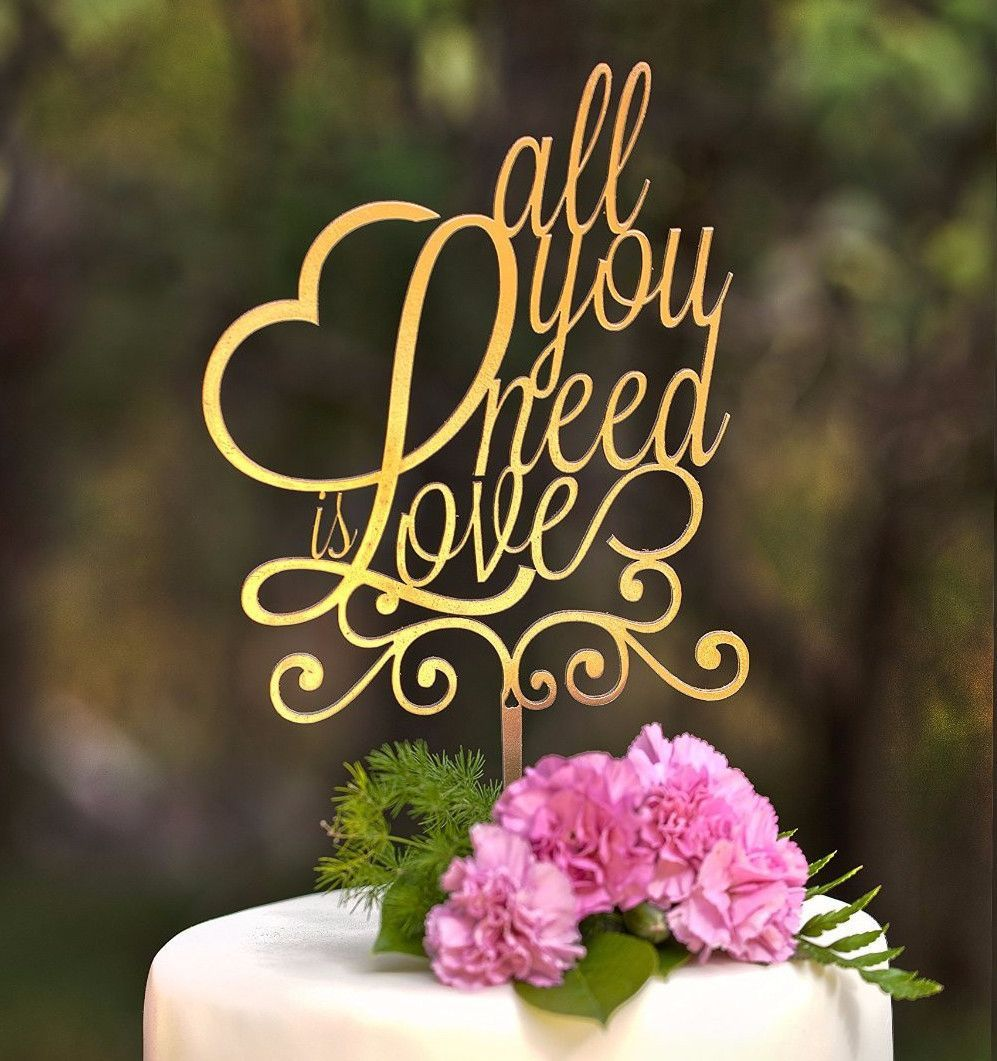 Cake topper for wedding anniversary engagement love message gold
