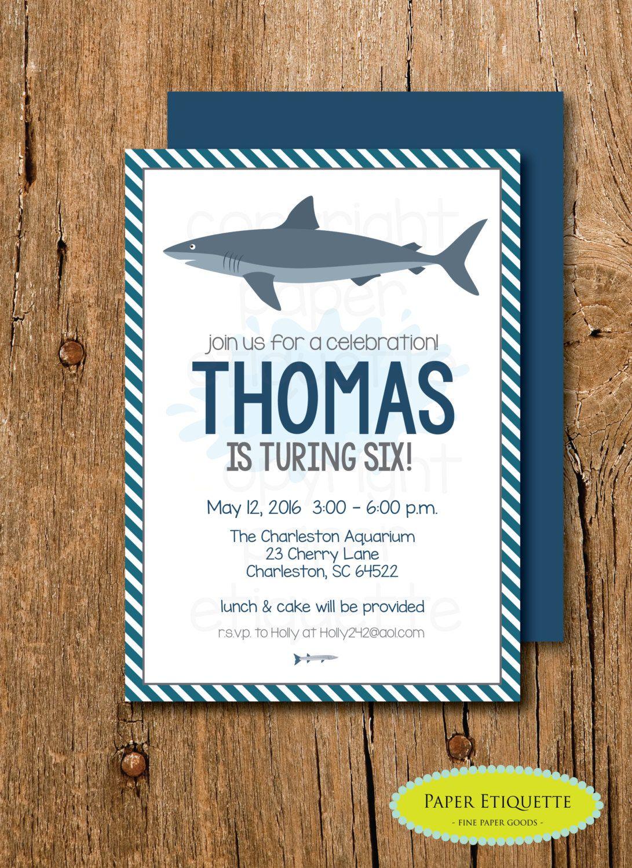 Shark Party Birthday Invitation - Boy Shark Birthday Invite - Sea ...