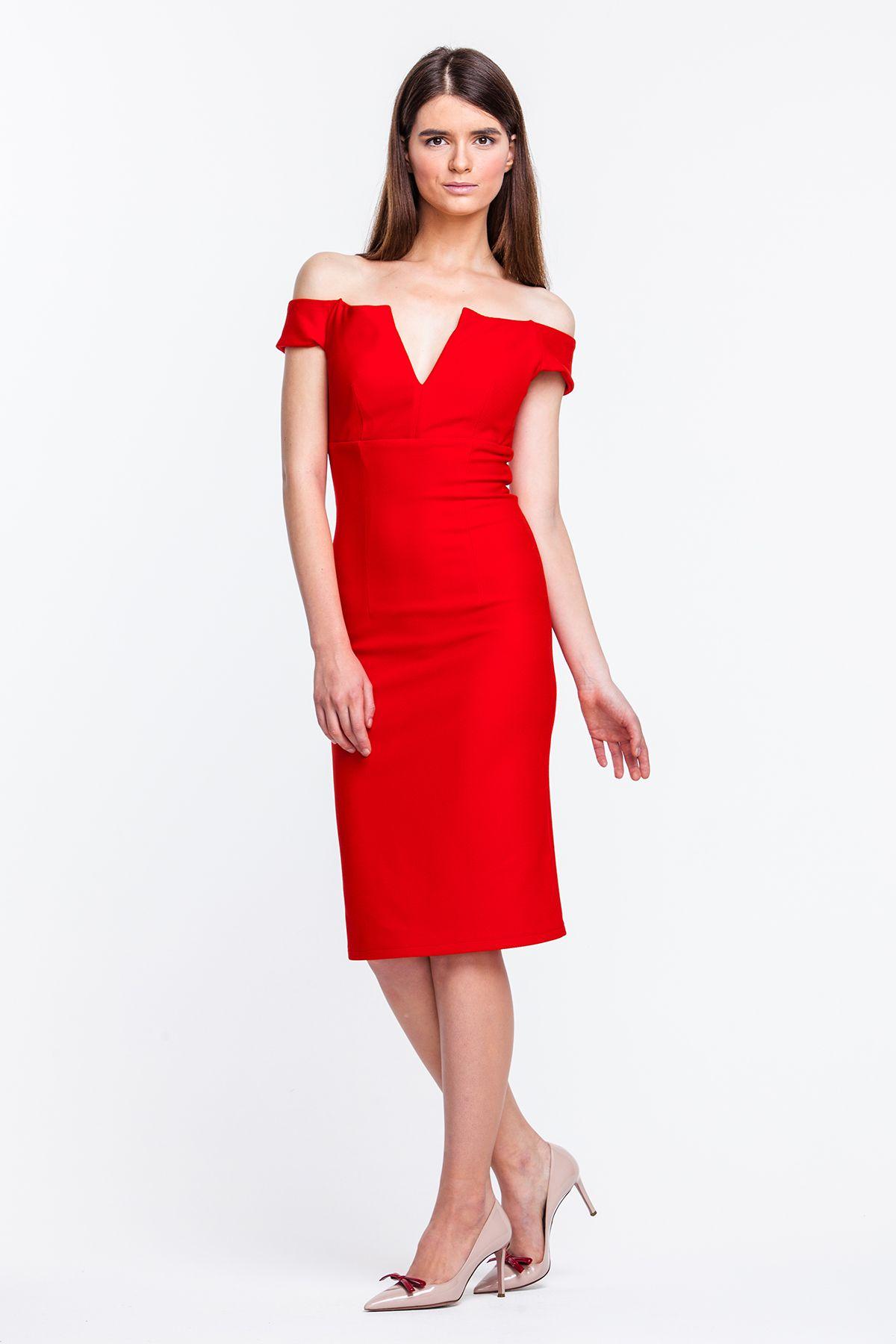 b191cfd2b8fd078 2243 Платье-футляр, красное с открытыми плечами купить в Украине, цена в  каталоге