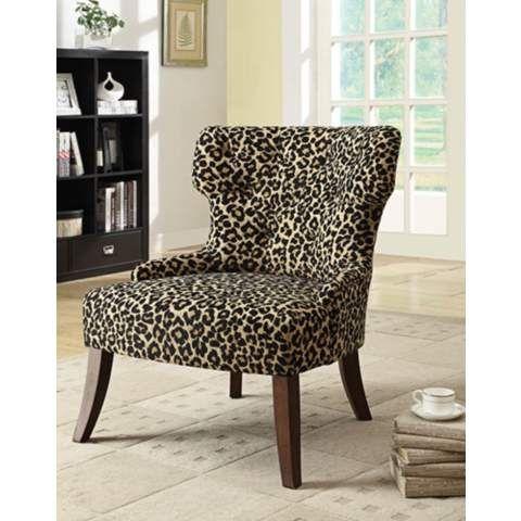 Claribel Leopard Print Wingback Accent Chair 7r838 Lampsplus