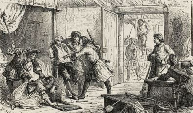 The Dragonnades persecuting a Huguenot family.Huguenots were members of the Protestant Reformed Church of France from the 16th - 18th + centuries. They were inspired by the writings of John Calvin in the mid 1500s, they were of noble birth, most middle class, skilled artisans, bankers and business people. By the end of the 17th c into the 18th c, They fled France due to religious persecutions. It is estimated over 700,000 fled + more were murdered.