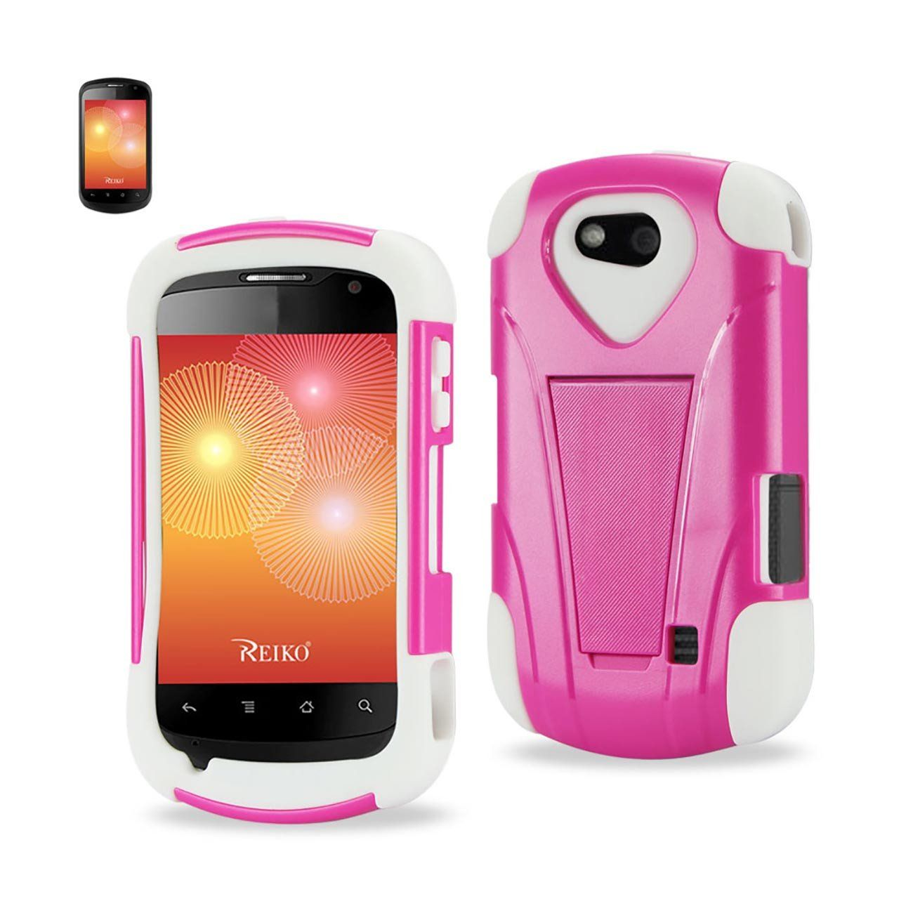 REIKO ZTE GROOVE HEAVY DUTY CASE WITH KICKSTAND PINK WHITE