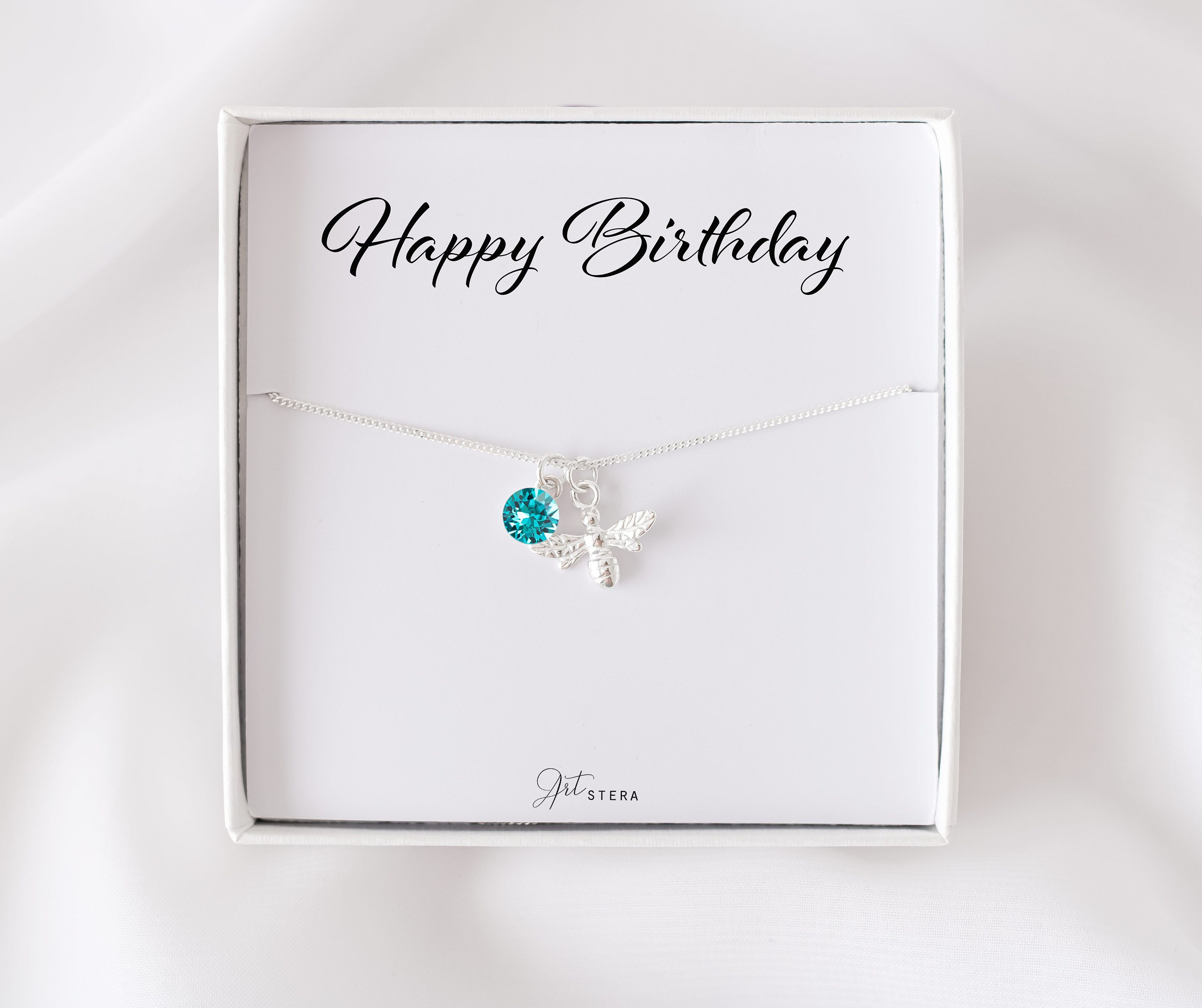 Birthday Gift For Her December Birthstone Bee Necklace