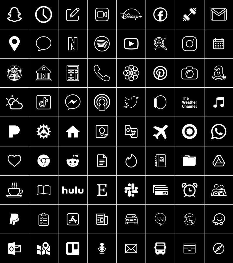 Black And White 300 Aesthetic Custom App Icons Pack Iphone Ios 14 Free Updates Minimal App Covers App Icon App Covers Black App