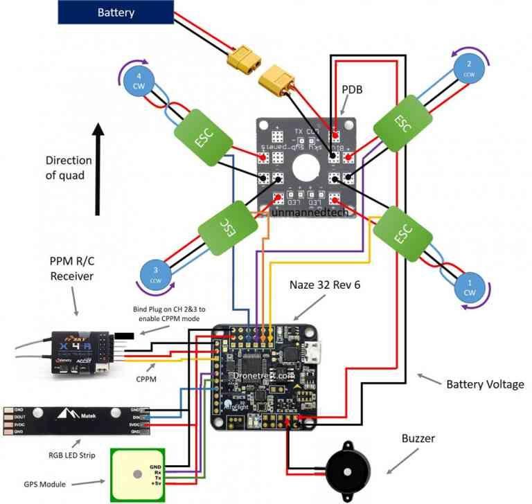 Naze32 Connection Diagram Drone Design Quadcopter Design Drone Technology