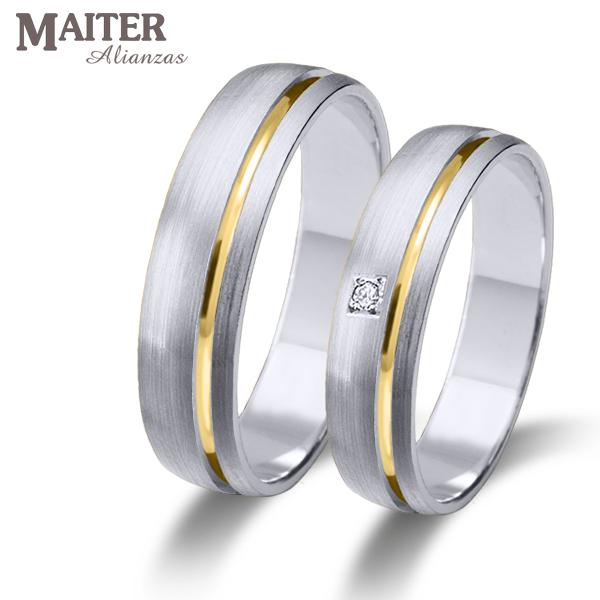 51fb68da794a  Alianza  boda oro blanco linea oro amarillo  Maiter 45mm mate suave  brillante 0.015cts www.joyasmaiter.com