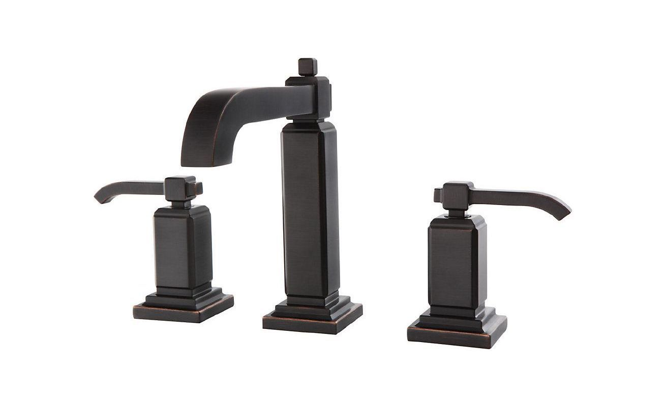 Pfister LG49-WE0 Carnegie 1.2 GPM Widespread Bathroom Faucet with Metal Pop-Up A Tuscan Bronze Faucet Lavatory Double Handle