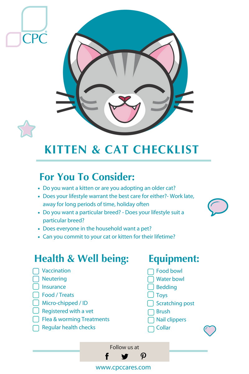 New Kitten Checklist Tips For Owning Young Cats Cpc Cares Blog In 2020 Kitten Checklist Cat Checklist Pregnant Cat