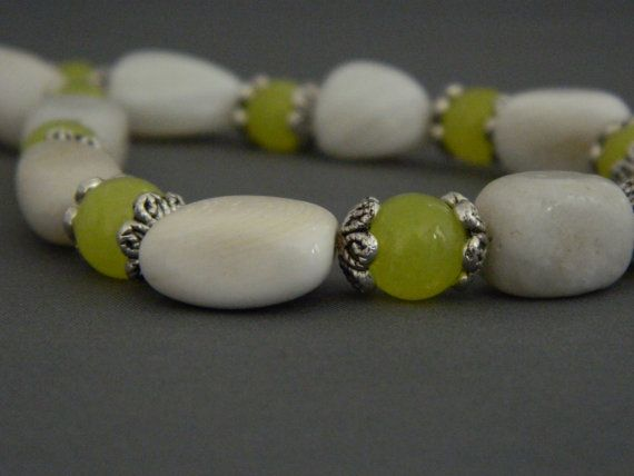 White Agate and Olive New Jade Necklace  FREE by nmarzoladesigns, $28.00