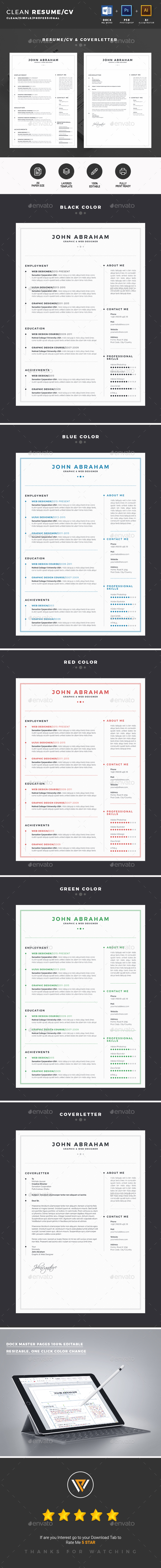 Clean Resume / CV Template PSD, AI, MS Word
