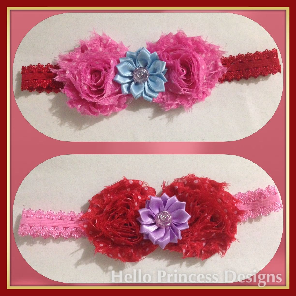 Funky Hairband - pink or red with white dots