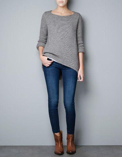 SWEATER WITH ASYMMETRIC HEM - Knitwear - Woman - ZARA France