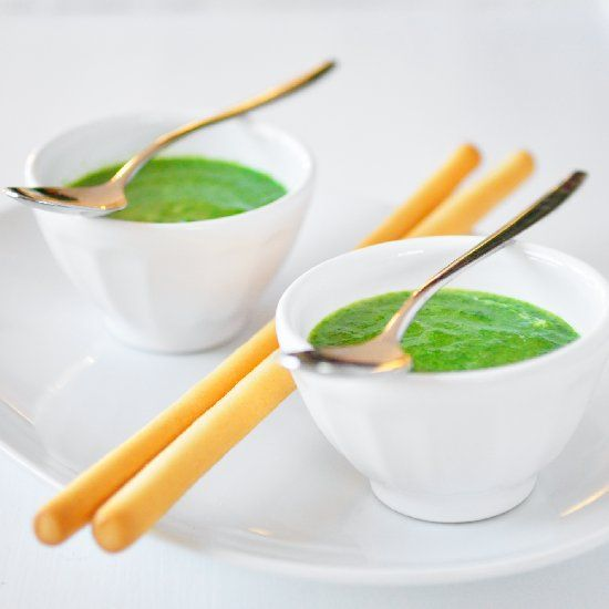 Arugula spinach soup, a delicious spring dish.