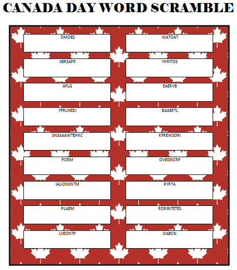 This free printable Canada Day Word Scramble is a fun game for both kids and adults to play. It can be used as a quiet activity at home or as a party game.