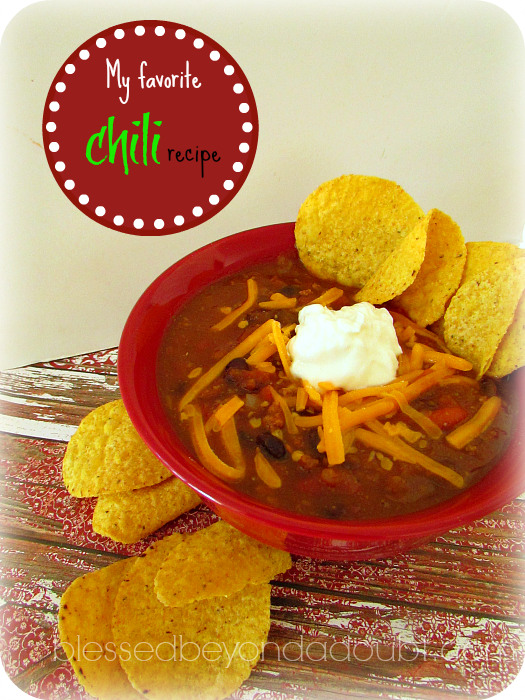 The best chili recipe out of all the pumpkin chili recipes on the web. You can't even taste the pumpkin!
