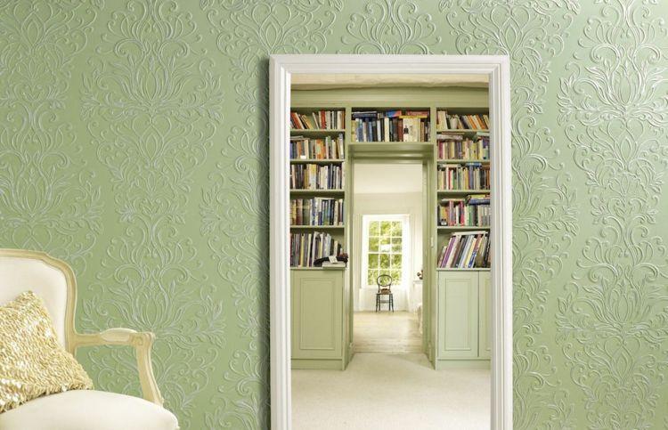 Lincrusta Tapete grüne lincrusta tapete mit hübschen vintage mustern wandgestaltung